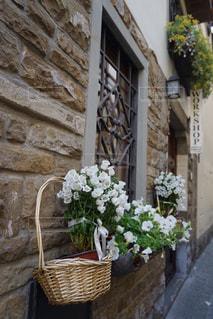 れんが造りの建物の上に花の花瓶の写真・画像素材[1241349]