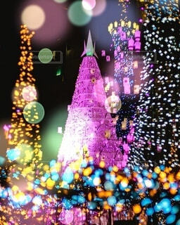 クリスマスツリーイルミネーションの写真・画像素材[3980474]