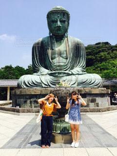 女性,2人,学生,夏,女子大生,大仏,女子旅,鎌倉,歴史,仏