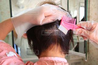 ピンクの髪の人が自分撮りをするの写真・画像素材[3076977]