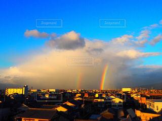 虹  2重虹  ラッキー  空  朝日  幸せ   幸運の写真・画像素材[298857]