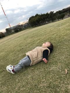 草の上に横たわる人の写真・画像素材[955303]