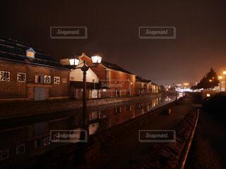 小樽運河の夜景の写真・画像素材[1414014]