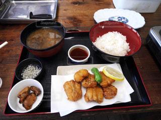 大洗で食べたあんこうの唐揚げの写真・画像素材[1585459]