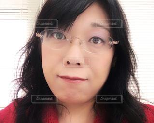 メガネの女性 アップの写真・画像素材[1440037]