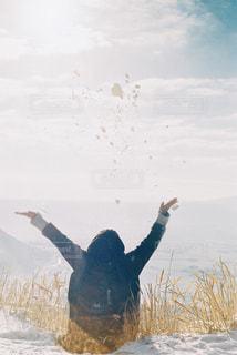 阿蘇で雪遊びの写真・画像素材[1792045]
