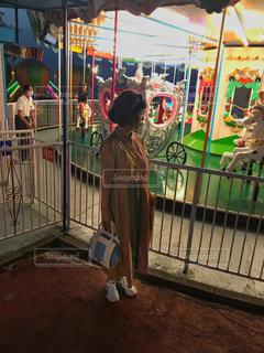 夜の遊園地の写真・画像素材[763703]