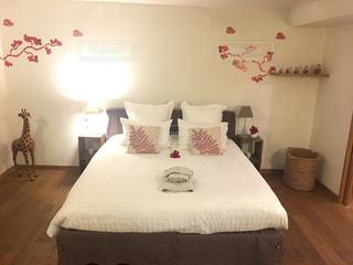 ホテルの部屋に大きなベッド付きのベッドルームの写真・画像素材[846577]