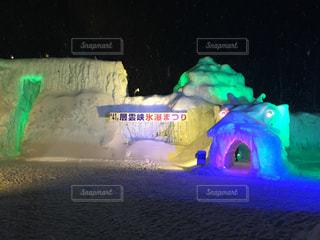 自然,夜,夜景,冬景色,景色,イルミネーション,かまくら,層雲峡氷瀑まつり