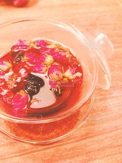 テーブルの上に食べ物のプレートの写真・画像素材[908095]