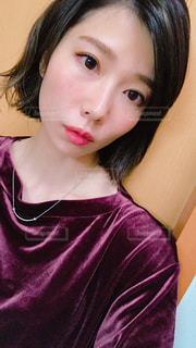 取って、selfie ピンクの髪の女の写真・画像素材[1491599]
