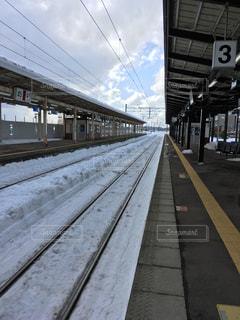 雪に覆われた線路の写真・画像素材[1009165]