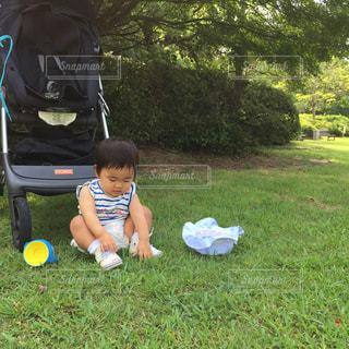 芝生に座って草むしりしている赤ちゃんの写真・画像素材[1848408]