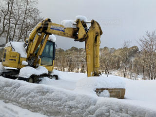 雪とショベルカーの写真・画像素材[1699839]