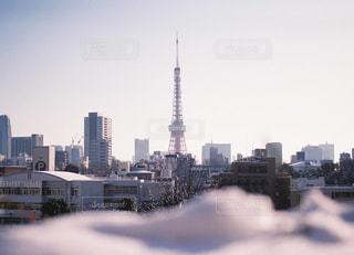 雪の日の東京タワーの写真・画像素材[1008937]
