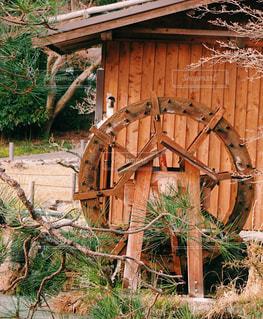 小屋と水車と松の写真・画像素材[1092858]