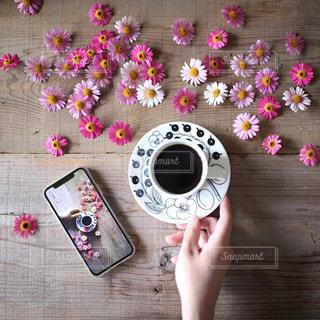 花とコーヒーの写真・画像素材[1121734]
