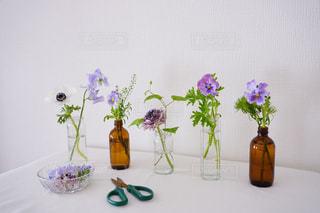 テーブルの上の紫色の花一杯の花瓶の写真・画像素材[1794827]