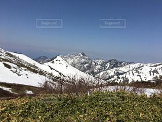 雪に覆われた山の中腹に立っている男の写真・画像素材[708276]