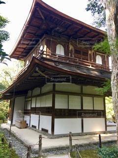 背景に木がある家の写真・画像素材[2764098]