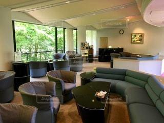 リビングルームの緑のソファの写真・画像素材[2773552]