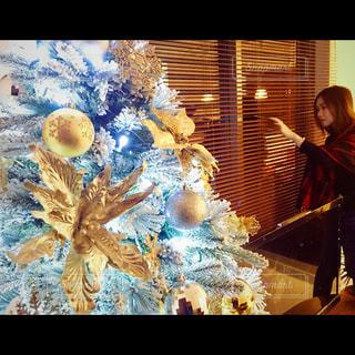 Christmas tree gold white xmas lights home - No.360027