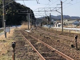 列車の通り過ぎた線路の写真・画像素材[1019034]