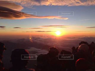 富士山,朝日,山頂,日の出,ご来光,富士山頂