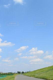 夏の青空とサイクリングロードの写真・画像素材[728424]