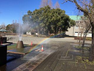 噴水と虹の写真・画像素材[1006994]