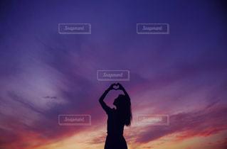 サンセット ハートの写真・画像素材[1057521]