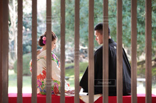 女性,男性,2人,カップル,結婚式,庭園,着物,横顔,夫婦,結婚,前撮り,和装,袴,色打ち掛け,和装でも