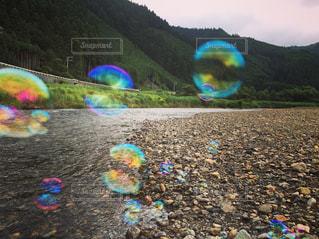 自然,幻想的,川,シャボン玉,河川敷