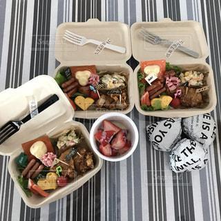 皿の上に異なる種類の食べ物で満たされた箱の写真・画像素材[2208956]