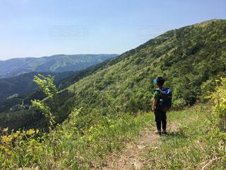 緑豊かな丘の中腹に立っている人の写真・画像素材[1221373]