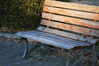木製のフェンスの横にある空の公園ベンチの写真・画像素材[923249]