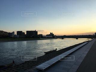 長良川の夕焼けの写真・画像素材[701131]