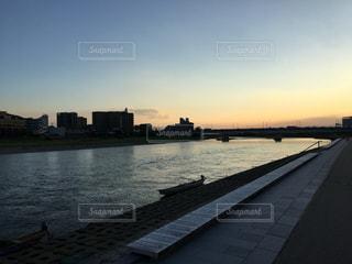 長良川の夕焼けの写真・画像素材[701132]
