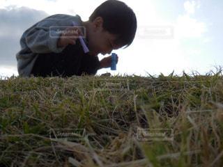芝生に座っている小さな男の子 - No.863361