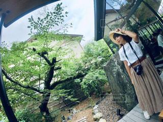 木の隣に立っている人の写真・画像素材[2262292]