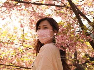 木の前に立っている女性の写真・画像素材[4286618]