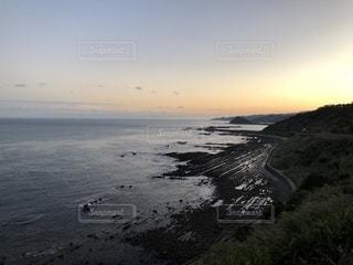 鬼の洗濯岩と夕陽の写真・画像素材[1702205]