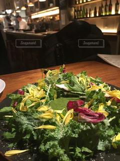 おしゃれなレストランのフォトジェニックなグリーンサラダの写真・画像素材[1566417]