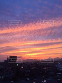 真っ赤な夕焼けの写真・画像素材[776547]