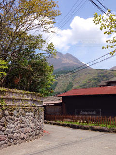 自宅から見た由布岳の写真・画像素材[1024005]