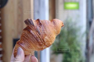 食べ物のかけらを持っている手の写真・画像素材[1587939]