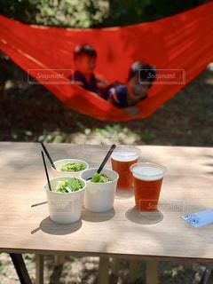 近くにピクニック用のテーブルの上の写真・画像素材[1587968]