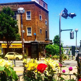 近くの花の前の通りをの写真・画像素材[1272733]