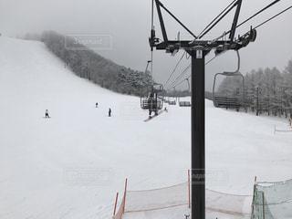 スキー場でリフトに乗っているところの写真・画像素材[1081581]