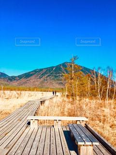 山の上に座っている木製のベンチの写真・画像素材[1177611]